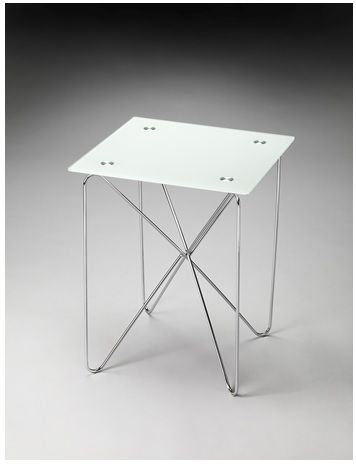 "Mesa decorativa con base de metal. Dimensiones: 16""x16""x20"""