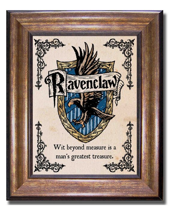 Ravenclaw House Crest, Ravenclaw House Motto, Harry Potter Vintage Style Print, Hogwarts Poster, Multiple Sizes (inches) 11x14, 8x10, 5x7