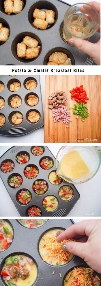 Potato Omelet Breakfast Bites. I need to lighten these up for my Shrinking On a Budget Meal Plan but love the concept.