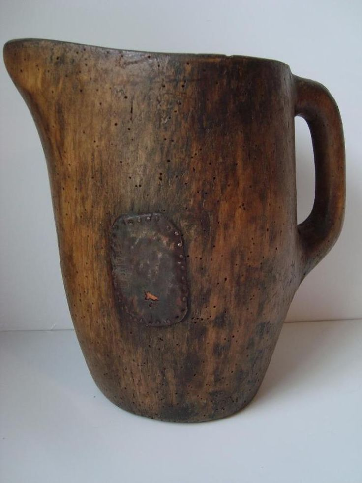 Old French Wood Pitcher made in France Country Primitive Folk Art