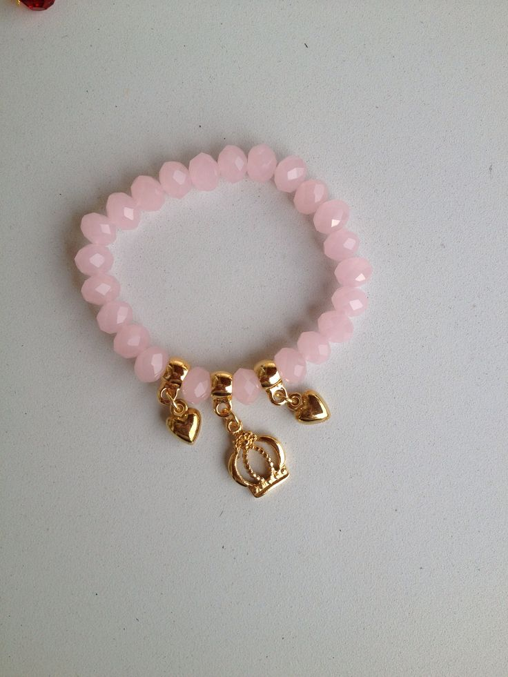 Pink crystal bracelet with hearts and crown