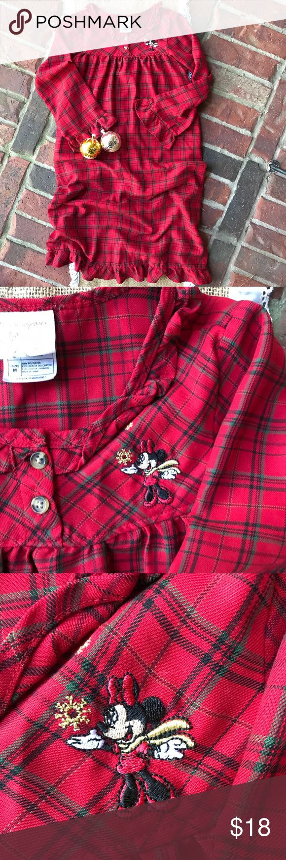 Disney plaid Minnie Christmas nightgown Sz Med red Disney Christmas red plaid Minnie Mouse nightgown. Size med. Embroidered Minnie, ruffled sleeves. EUC Pet and smoke free home. **If you need measurements PLZ let me know. Disney Pajamas Nightgowns