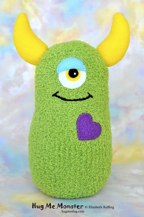 Handmade Sock Monster Doll, Plush Stuffed Art Toy, Hug Me Monster, Personalized Tag, Grass Green, Purple, Yellow, 10 inch, Ready-made