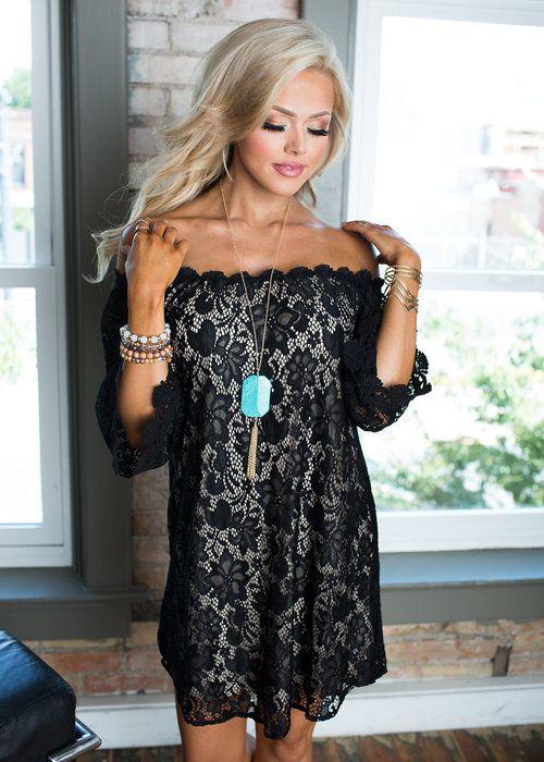Dress, Short Dress, laced Dress, Off the shoulder Dress, Black Dress, Cute, fashion, Online Boutique