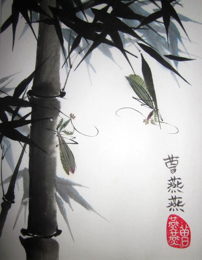 A pair of praying mantises survey each oher among bamboo branches in this ink on rice paper composition by Tracie Griffith Tso of Reston, Va. Mantises are a meditative figure, bamboo represents longevity.