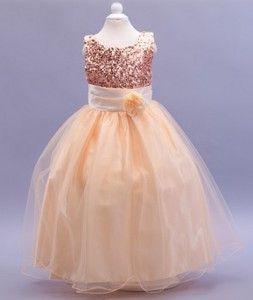 Champagne Sequin Flower Girl Dress  LP55