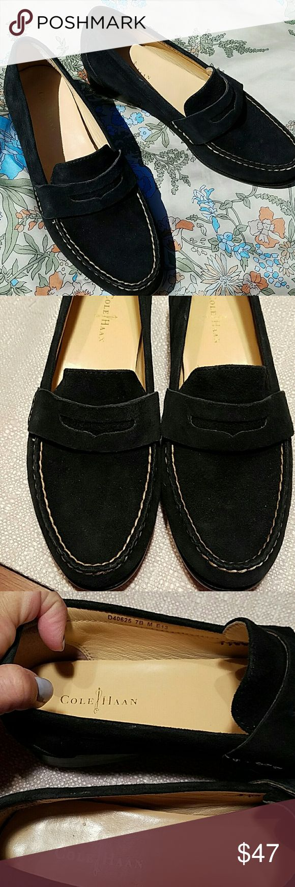 Cole Haan Nike Air Suede Loafers Gorgeous pair of penny loafers from Cole Haan Nike Air collection NWOT, Never worn a tad too big for me. Black genuine suede uppers with taupe stitching and genuine leather soles, a well made, timelessly classic shoe. Shoes Flats & Loafers