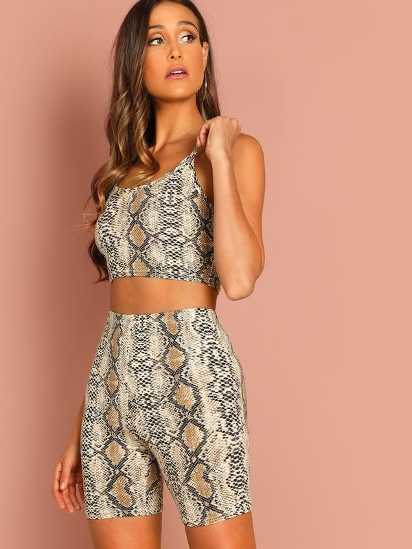 Snake Skin Print #Crop Tank Top and #Leggings Shorts Set
