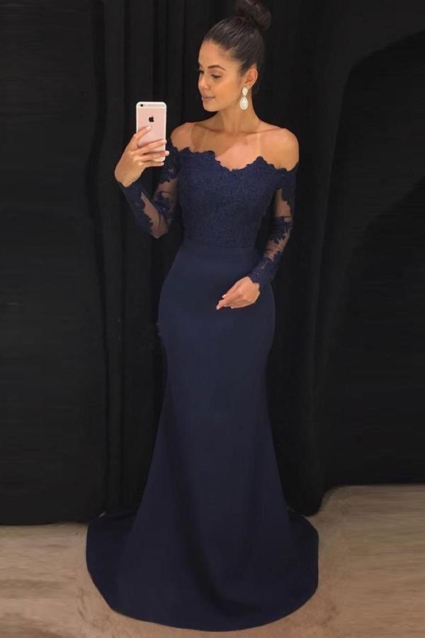 e9f45c3323bea Sheath Nave Blue Lace Long Sleeves Prom Dresses,Evening Dresses ...