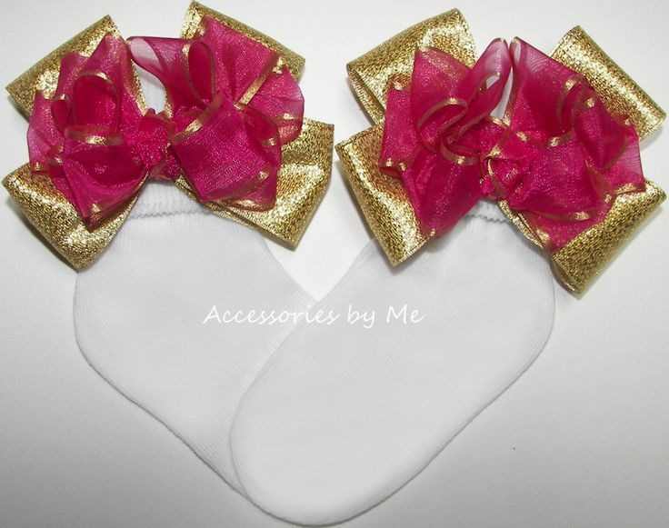 Fuchsia Pink Gold Organza Metallic Bow Socks #Girls #Socks #Pink #Gold