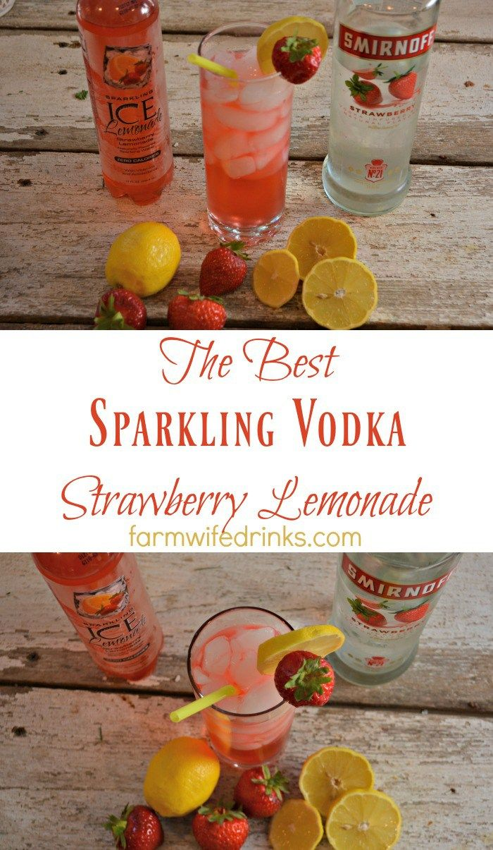 A quick two ingredient strawberry lemonade with vodka drink.
