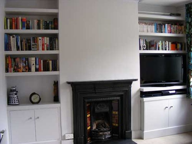 Built in cabinet and shelves in alcove (clean shelves)
