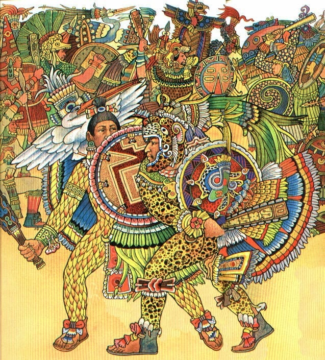 Aztec warrior painting aztec mexica mayan pinterest for Aztec mural painting