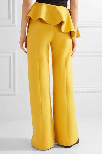 Rosie Assoulin - Bearded Iris Peplum Cotton-twill Wide-leg Pants - Marigold - US2