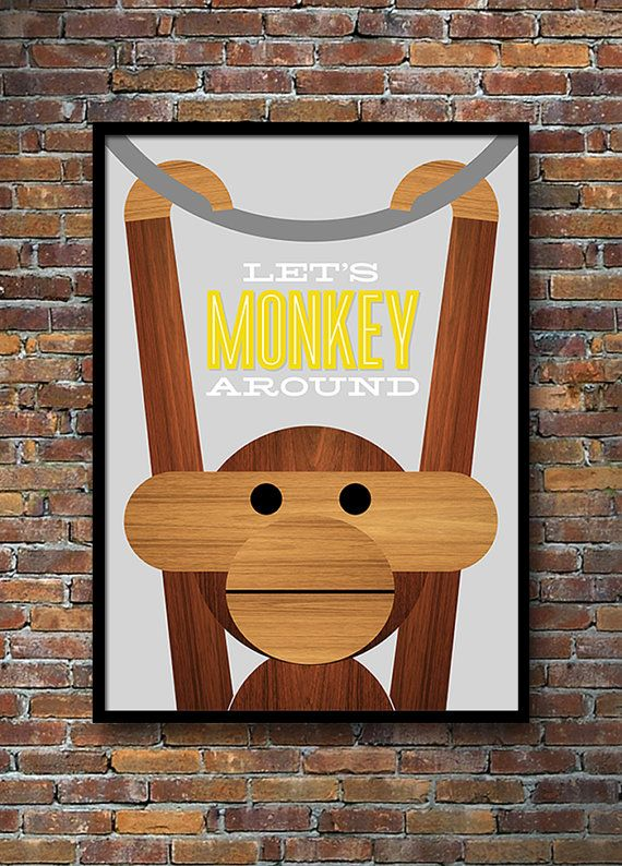 My 'Let's Monkey Around' Kay Bojesen monkey print is now available in grey and yellow. Yumalum.