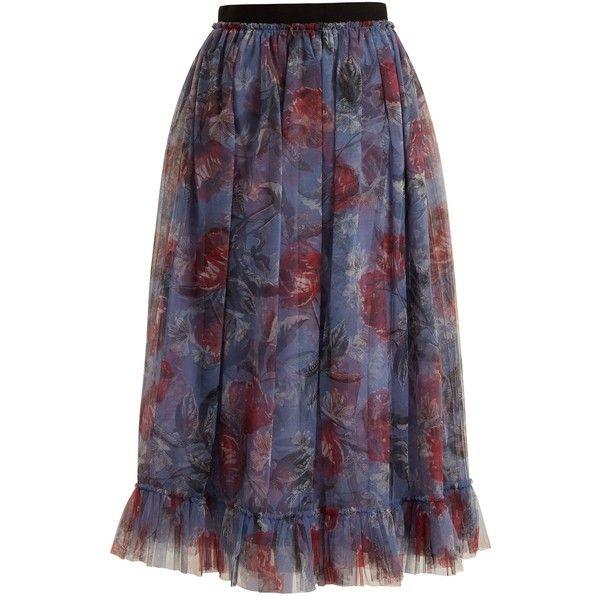 Erdem Clio Ellington peony-print tulle skirt ($2,610) ❤ liked on Polyvore featuring skirts and purple print