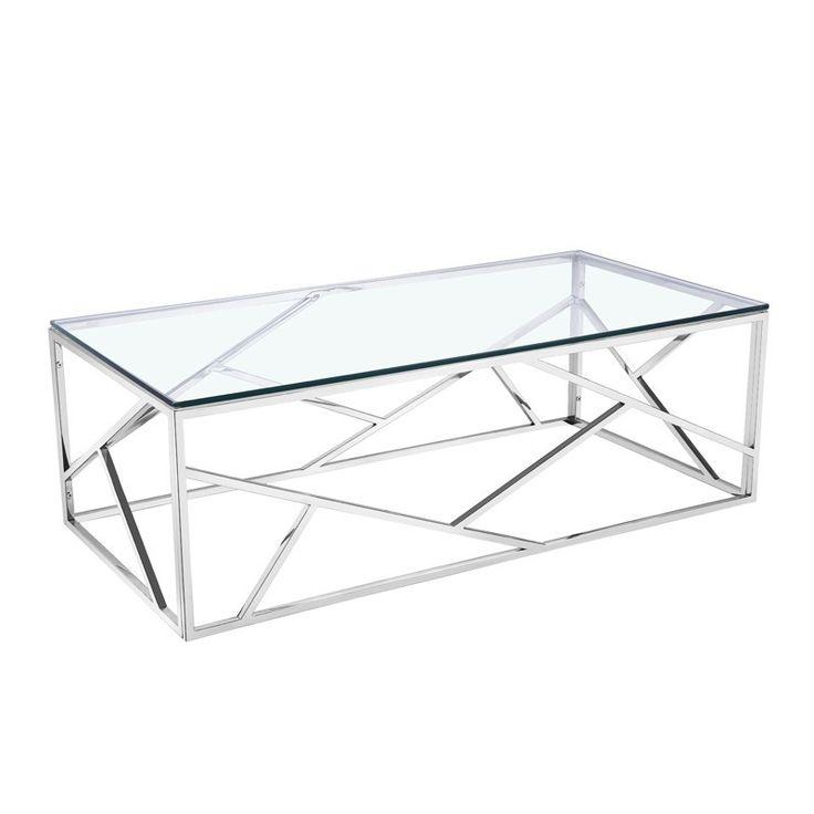 Table basse en métal et en verre mesurant 120cm de longueur, 60cm de largeur et 40cm de hauteur