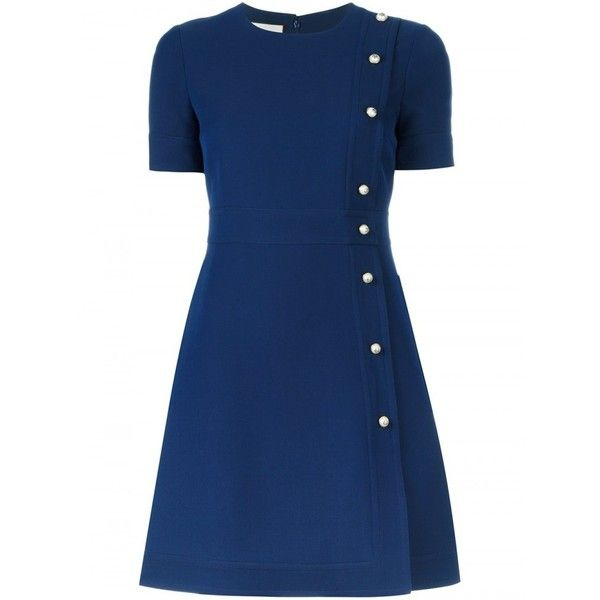 Gucci Short-Sleeves Dress in Wool ($1,610) ❤ liked on Polyvore featuring dresses, blue dress, wool dress, button dress, woolen dress and a line dress