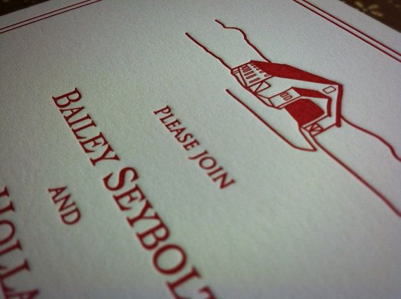 Rustic Hand Drawn Barn Letterpress Wedding invitation by Peacock Printing