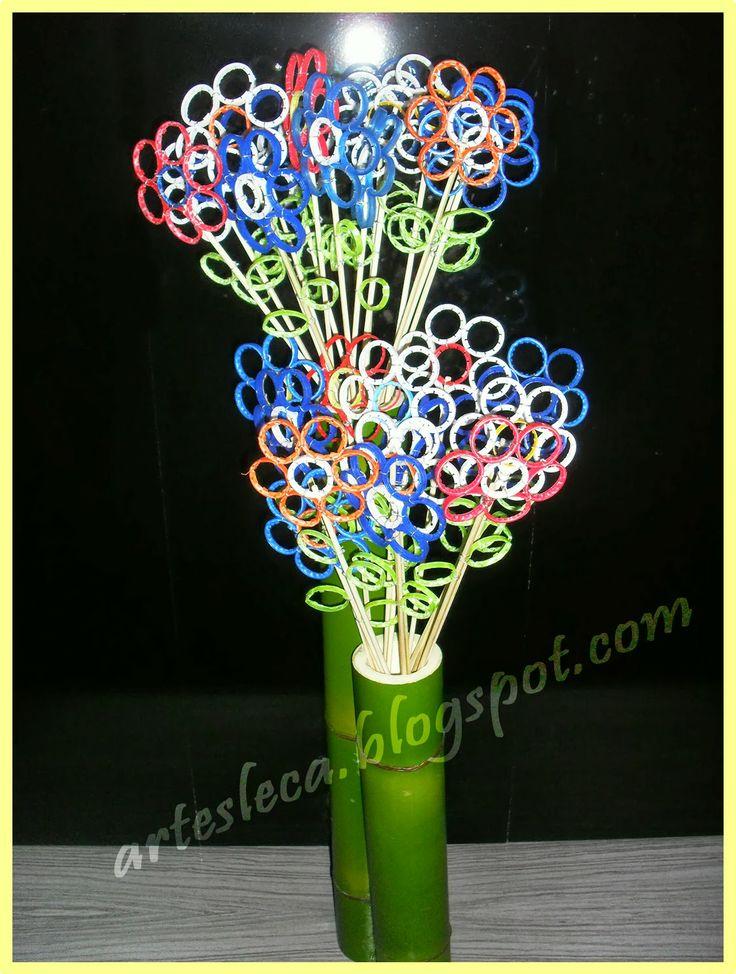 flores feitas   argolinhas de garrafa pet artesanato reciclagem
