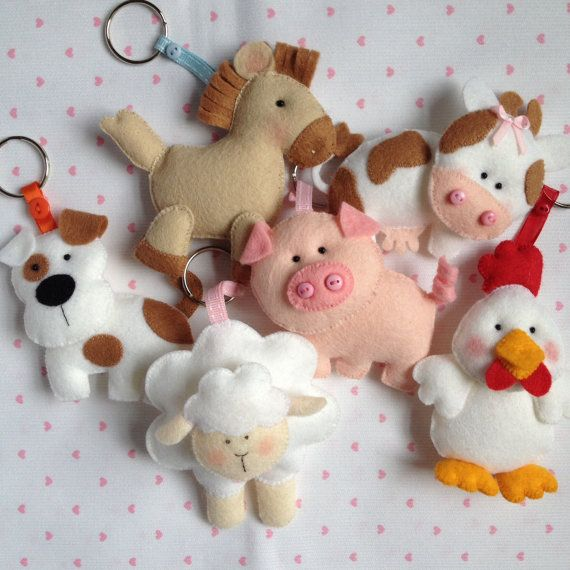 Cute Felt Hand Sewn Farm Animal Key Rings Dog Cat by feltncuddles