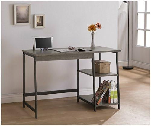 Weathered Grey Home Office Laptop Computer Desk with Shelves in Metal Gunmetal Finish