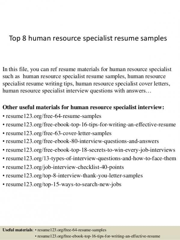 Human Resources Resumes Samples template Pinterest Template