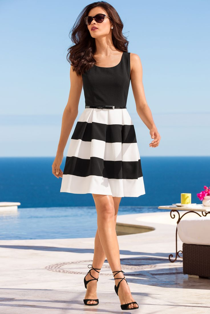 It's your journey, why not transport yourself to the quaint Italian fishing village of Portofino when you slip on this bold stripe dress with distinctive pleats, a skinny belt and hidden back zip. The only things missing are accessories and bold heels. Boston Proper   Spring Collection   Spring Fashion   Women's Fashion   Dress   Street Chic   Day-to-night outfit   Style   Stripe Dress   SS16