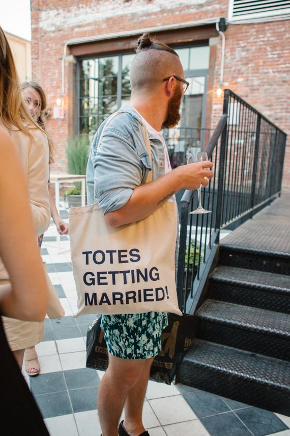 Things we love: abreves (that's abbreviations) and puns. They say the greatest gift is the gift of laughter. If that's the case, we're stocking up on these hilarious totes that take the boring ole' canvas welcome bag to the next level. (JOVE MEYER EVENTS )
