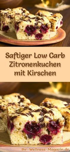 Rezept für einen Low Carb Zitronenkuchen mit Kirschen – kohlenhydratarm, kalori…