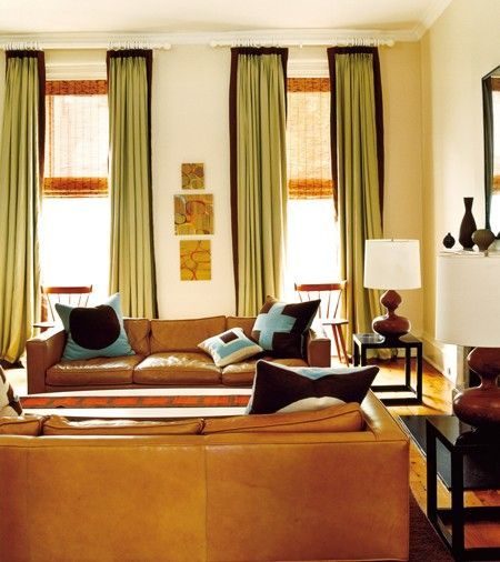 Sofa And Loveseat Opposite Each Other: Relaxed Living Room Design Matching Leather Sofas Face