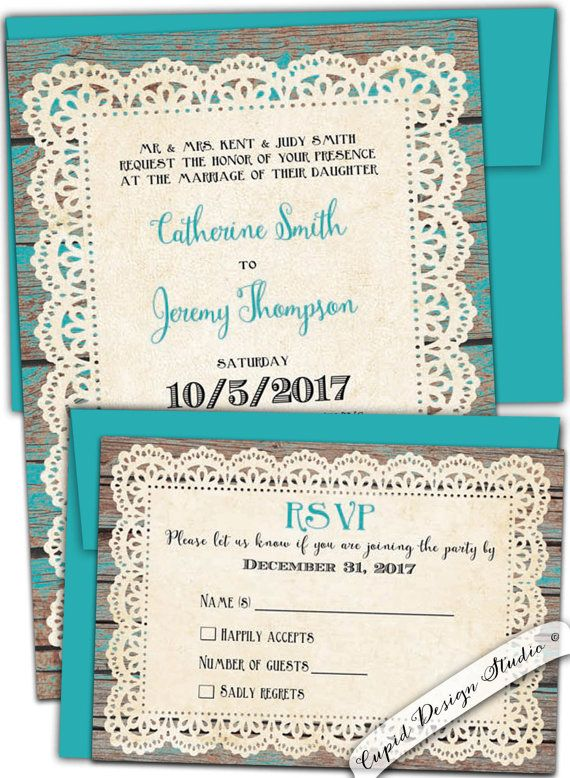 Rustic Teal Wedding Invitation/Country Wedding Invitation/Rustic Chic Wedding  Invitations/Printable Wedding Invites/Custom