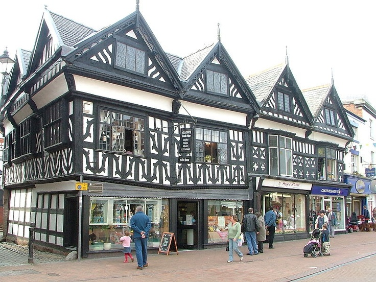 Black-and-white timbered buildings on Nantwich High Street in Cheshire