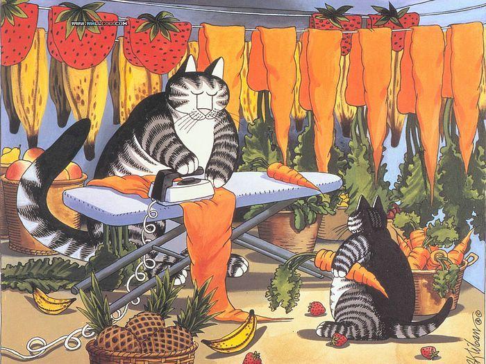 Cat Dreams, Amusing Cat Cartoons Wallpaper 6 KlibanB_CatDreams_17-We - Wallcoo.net