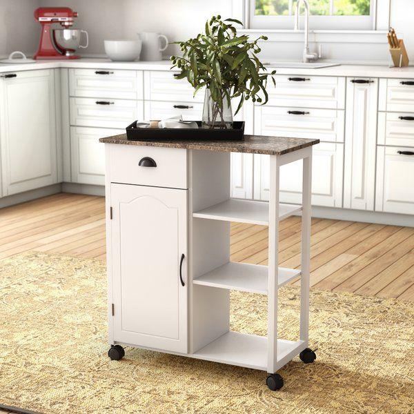 Queens Kitchen Cart With Marble Top Kitchen Cart Kitchen Tops Granite Marble Top