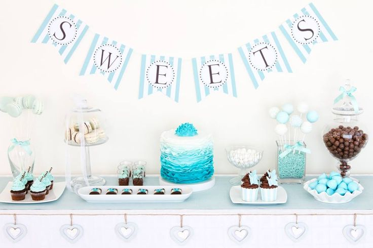 """Blue Dessert Table. Great inspo for """"Boy"""" Bridal Shower"""