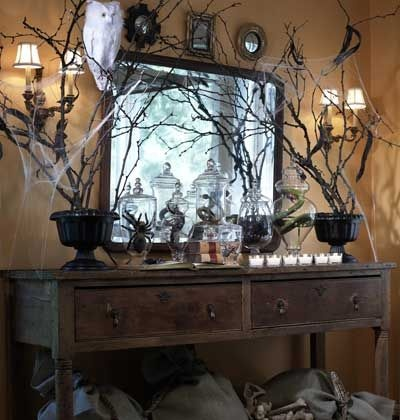 love this #creepy #halloween mantleHalloween Decorations, Halloween Mantels, Halloween Mantle, Halloweendecor, Halloween Decor Ideas, Spooky Halloween, Branches, Apothecaries Jars, Halloween Ideas