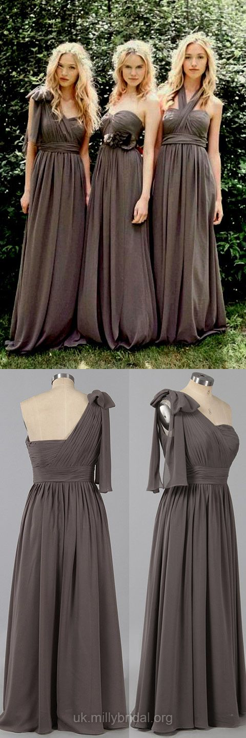 Empire Bridesmaid Dresses Long,Sweetheart Bridesmaid Dress Gray, Chiffon Bridesmaid Dresses Ruffles Modest