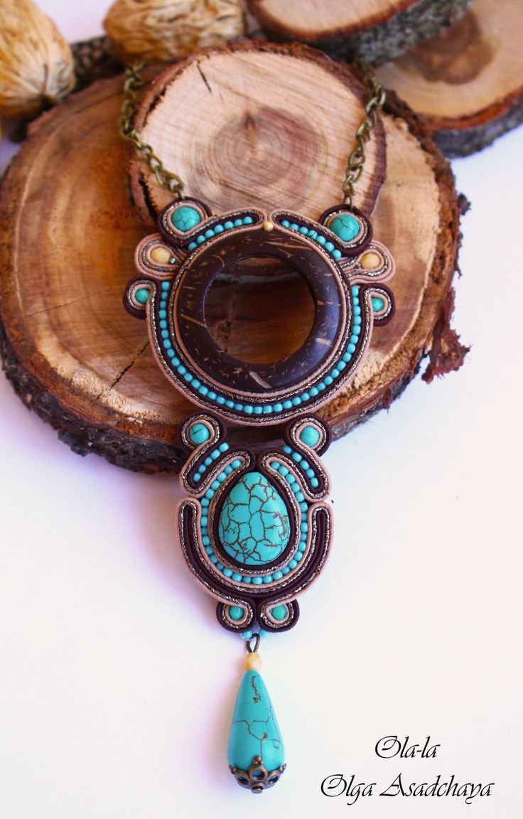 "Collection ""Captivated by Turquoise"" Brooch ""The Copper Whirlwind"" Embroidery Embroidery, Turquoise, Hovlite, Japanese Beads, Acrylic Element, Copper Chain"