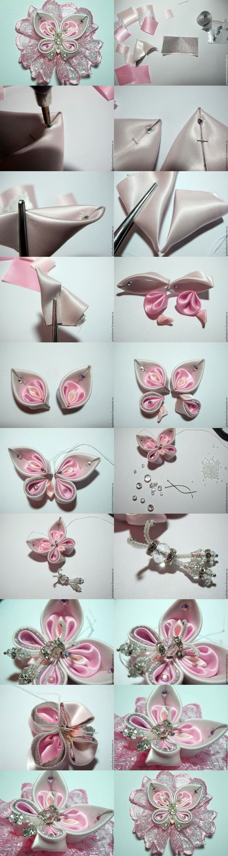 kanzashi mariposa tutorial vlinder in roze met wit, plus tutorial butterfly