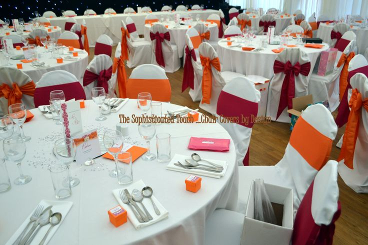 Alternating Fuschia and Orange Satin Bows on White Chair Covers  The Sophisticated Touch ...Chair Covers by Design