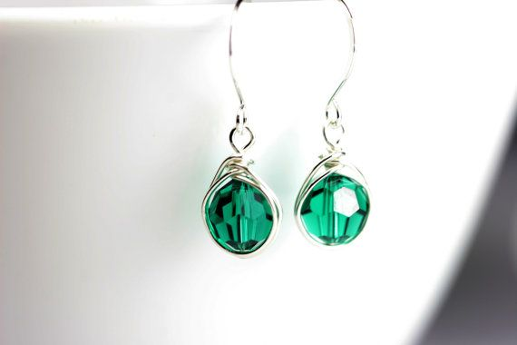 Green Swarovski Crystal Earrings Wire Wrapped by JessicaLuuJewelry, $25.00