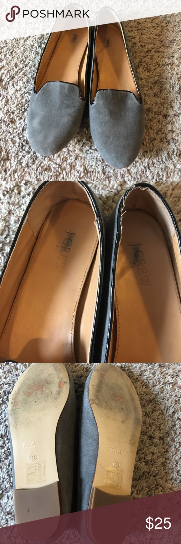 Women's J crew Outlet loafers size 8! I got these loafers at a J crew Outlet in VA and they have the logo crossed out for Outlet reasons, still are legitimate J crew shoes! Fit a size 8 but could fit a 8.5. The color is stone gray with black on the edges. J. Crew Shoes Flats & Loafers