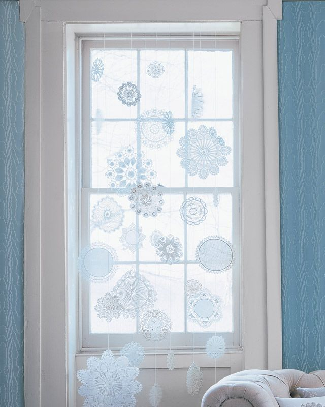 starched doily snowflakes.  @Alicia Farley these might have to make me reconsider my harsh anti-doily stance... (though I will never waver on paper doilies on plates!)