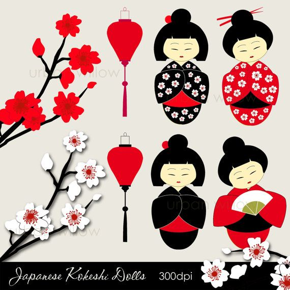 KOKESHI Dolls. Japanese dolls clip art set in Png & by urbanwillow, $4.00  https://www.etsy.com/listing/79730532/kokeshi-dolls-japanese-dolls-clip-art?ref=sr_gallery_3&ga_search_query=Asian+doll+clip+art&ga_search_type=all&ga_view_type=gallery