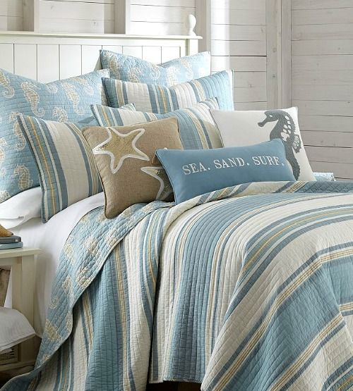 Sea Sand Surf Coastal Bedding: http://www.completely-coastal.com/2016/07/beach-decor.html Sandy beachy perfection!