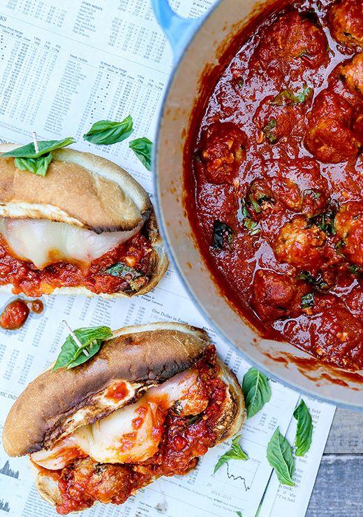 Chicken Parmesan Meatball Subs | www.floatingkitchen.net