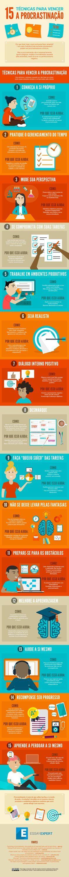#Infográfico - 15 Técnicas para Vencer a #Procrastinação