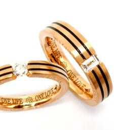 Buy Cara sterling silver and  certified Swarovski stone Gold Polish with Black Lining Couple Bands engagement-gift online