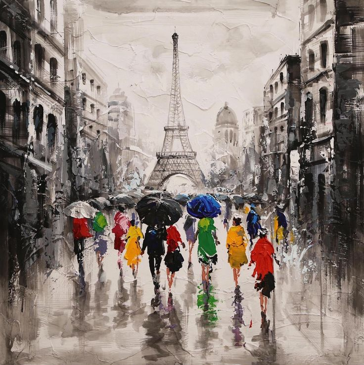 Målerikonst | RainyParis | 95x95cm via Oljemålningar